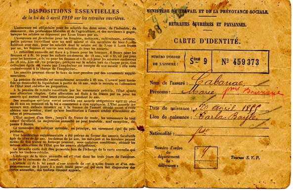 Recto de la carte de retraite de 1916