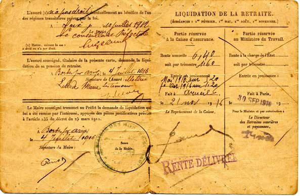 Verso de la carte de retraite de 1916